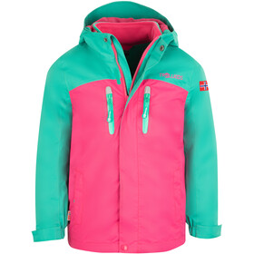 TROLLKIDS Bryggen 3In1 Giacca Bambino, peacock green/pink
